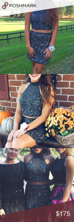 Two piece homecoming dress Beautiful two piece homecoming dress. The dress is completely beaded with charcoal colored beads. The dress was worn once and in perfect condition! I love this dress! Dresses Prom