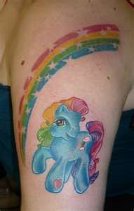 Image Detail for - pony horse with rainbow tattoo on woman's arm