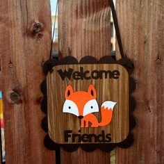 Woodland Creatures Fox Door Sign Welcome by PaperPartyParade, $10.00
