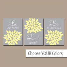 Gray bedroom Walls - Live Laugh Love Wall Art, Yellow Gray Bedroom Wall Decor, Bathroom Decor, Yellow Gray Flower Nursery Wall Decor, CANVAS or Print Set of 3 Grey Wall Art, Yellow Wall Art, Love Wall Art, Yellow Walls, Grey Walls, Bathroom Wall Decor, Nursery Wall Decor, Bathroom Colors, Bedroom Wall