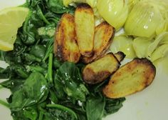 Lemony-garlic Roasted Fingerling Potatoes, Artichoke Hearts, and Steamed Spinach