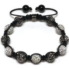 Black and White Beaded Adjustable Bracelet