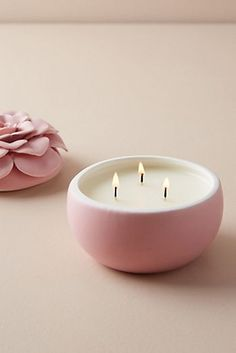 Ceramic Flower Candle by Illume in Pink, Candles at Anthropologie Pink Candles, Unique Candles, Large Candles, Luxury Candles, Beautiful Candles, Cute Candles, Modern Candles, Scented Candles, Candle Jars