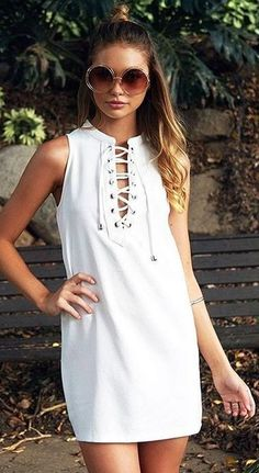 #beginningboutique #label #outfits | White Little Lace Up Dress