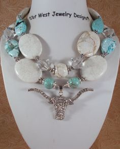 Cowgirl Necklace Set  Chunky White Buffalo and by Outwestjewelry, $60.95