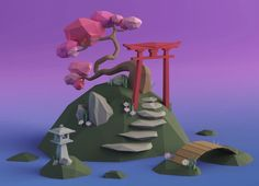 I made a little low poly Japanese garden after the donut tutorial, I hope you enjoy it :) : blender