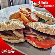 Αυτό είναι ένα από τα πιο χορταστικά πιάτα που έχουμε δημιουργήσει, μόνο για εσένα! #Club_Burger🍔 και καλή μας όρεξη!  ☎️ 2310.632180 💻 www.krepatown.gr 📍 Μιχαήλ Καραολή 20, Συκιές  #krepatown #Συκιές #Νεάπολη #Πολίχνη #yummy #delicious