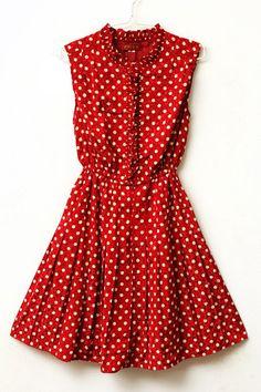 Miss Hattie - Crimson and White Polka Dot Ruffle Dress