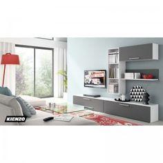 Composición Salón QUATRO 402, muebles fabricados enmelamina, acabados de la máxima calidad, medida 240cm, acabado Blanco Serix / Grafito, disponible en 5 colores y múltiples modelos para combinar, confeccionando la composición ideal para su salón. Este y mucho mas