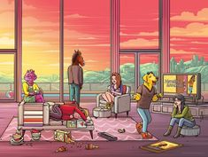 Dan Mumford, Digital illustration from a cartoon tv show. Interior scene with personified animals in a living room Wallpaper Animes, Kawaii Wallpaper, Cartoon Tv Shows, A Cartoon, Ghibli, Dan Mumford, Disney Pixar, Sarah Lynn, Great Works Of Art
