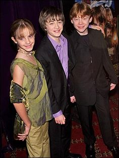 Emma Watson, Dan Radcliffe and Rupert Grint, 2001 They're all so TINY! Babies! AH!