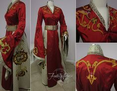 Cersei Lannister's gown from <i>Game of Thrones</i> got a Firefly Path twist with some original detailing. The embroidery was designed specifically for the gown and even has real feathers in the birds' tails.