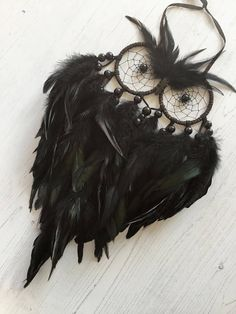 Raven Owl Dreamcatcher - owl dream catcher, dreamcatcher owl, dream catcher owl, owl decor, owl gifts, owl wall hanging, black dreamcatcher