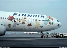 """thegoodcorner.tumblr.com: """"We really love our Moomins here. A Moomin livery on the Finnair MD-11 plane that flew Helsinki-Tokyo route in the past."""""""