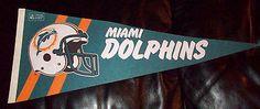 "Rare Vintage 1970s NFL Football Pennant Miami Dolphins 28"" Long please retweet"