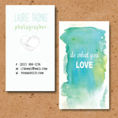 Printable watercolor business cards 'Do what you by GoodByeMonday, $15.00