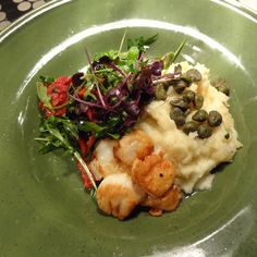 King scallops w/ capers & mash Parsnip Puree, Savoy Cabbage, Roasted Chestnuts, Cabbage Leaves, Daily Specials, Blue Cheese, Scallops, Stuffed Mushrooms, King