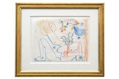 Abstract crayon drawing of nude with fish by Michel Debieve (1931- ), dated 1968.