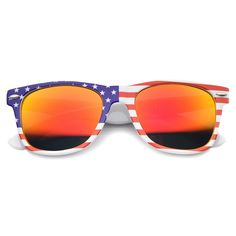 7785570331d Patriotic USA Stars and Stripes Mirrored Lens Horn Rimmed Sunglasses - American  Flag   Fire - - Men s Sunglasses