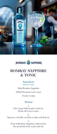 Bombay Sapphire & Tonic | A step-by-step guide to crafting a Bombay Sapphire & Tonic | 50ml Bombay Sapphire | 100ml Premium tonic water | 1 Lime wedge