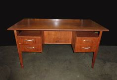 """Vintage DANISH Mid Century Modern FLOATING TOP Writing DESK Teak Top 4 Drawers - 29""""H x 25 x 50 and the opening is 27 1/2"""" H x 18 1/4""""W :: $750"""