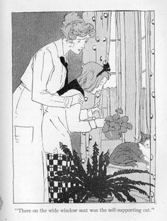 There on the wide window seat was the self-supporting cat - Mary Rose of Mifflin by Frances R. Sterrett, 1910