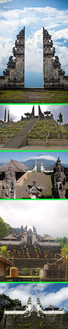Real - Pura Lempuyang Door, Bali, Indonesia - This image is sometimes marked as fake but it is real. Usually seen from the point of view shown in the top image. The other images show various viewpoints and span several years and different seasons.