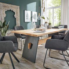 Modern und rustikal - ein Tisch fürs Leben! Massiv, klar und atemberaubend schön. Loft, Conference Room, Dining Table, Modern, Nature, Furniture, Design, Home Decor, Dinner Table
