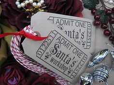 10 Vintage Kraft Manilla Christmas Santas Workshop Luggage Label Gift Tag