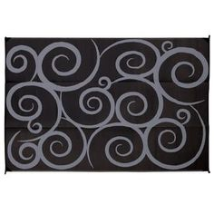 Reversible Swirl Design Patio Mat 8 X 16 Black Gray