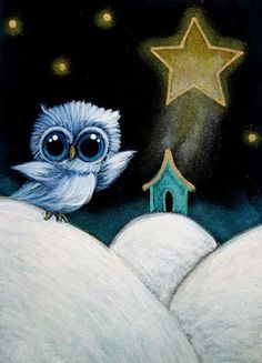HOLIDAY TINY BLUE OWL ... BELEN STAR