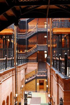 The Bradbury Building in Los Angeles is one of the finest architectural masterpieces in Southern California.