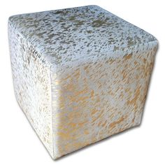 Hair-on Cowhide Cube Ottoman Footstool - Gold Metallic Cowhide Furniture Cube Size: High Cowhide Furniture, Cowhide Ottoman, Gold Furniture, Ottoman Footstool, Living Room Furniture, Living Room Decor, Ottomans, Cow Skin, Cow Hide Rug