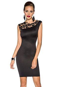 Amynetti Sexy Damen Kleid Cocktailkleid Etuikleid mit Spitze Blumen Muster Reißverschluss Kurz schwarz - 36 / 38