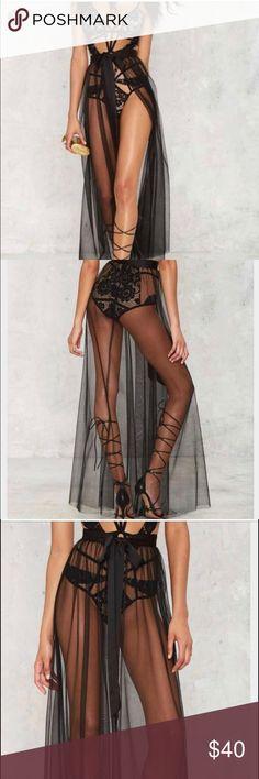Nasty Gal Tulle Wrap Skirt Black sheer wrap skirt. Beach cover up. Nasty Gal Skirts Maxi
