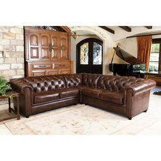 Abbyson Living Tuscan Top Grain Leather 3 Piece Sectional Sofa - Create a distinguished living room updated to accommodate today's lifestyles with this Abbyson Living Tuscan Top Grain Leather 3 Piece Sectional...