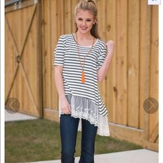 """NEW black & white striped lace shirt size M This is new, never worn. I bought it but I feel like it's too big on me. I absolutely love it though! Size M with stretchy material.  (For size ref., I'm about 130 lbs and 5""""3.) Tops Tees - Short Sleeve"""