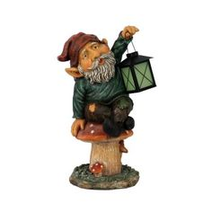 Garden gnomes with glow in the dark Indoor Tabletop Fountains, Candle Lanterns, Candles, Gnome Garden, Garden Ornaments, Elves, The Darkest, Stuffed Mushrooms, Glow