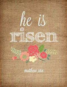 He is Risen! –Matthew Our Lord Jesus laid His life down for us and rose again! There is no better holiday than Easter.