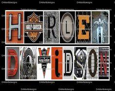Harley Davidson Framed Alphabet Photo Art by DAMartndesign on Etsy, $39.00