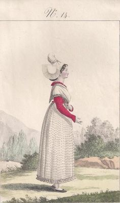 Lante and Gatine, engraving from 1827 - French folk costumes - traditional French jewellery