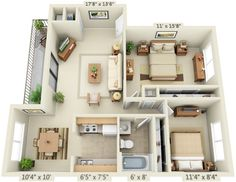 2 bedroom 1 bathroom layout