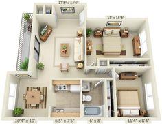 2 bedroom 1 bathroom layout