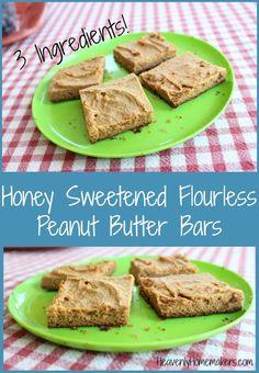 Honey Sweetened Flourless Peanut Butter Bars