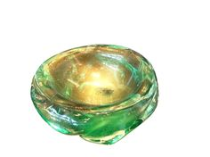 Clear green Murano bowl with gold inclusions; ca. 1950