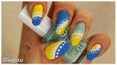 #doily inspired #DIY #Nailart watch the video #tutorial on my blog here: http://giugizu.blogspot.it/2015/05/diy-blue-and-yellow-doily-nailart.html