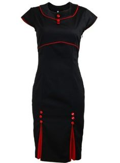 Black Kick Pleat Double Button Red Trim Pinup 1950s Rockabilly Pencil Women's Dress,