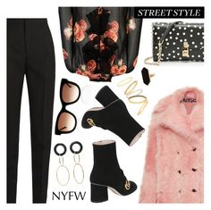 """""""NYFW Street Style: Day One"""" by dressedbyrose ❤ liked on Polyvore featuring Yves Saint Laurent, Rochas, Gucci, Thierry Lasry, Dolce&Gabbana, Mateo, Jaeger, Madewell, StreetStyle and NYFW"""