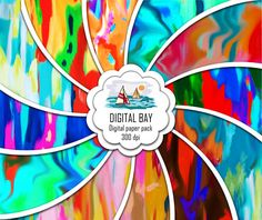 COLORFUL ABSTRACT Digital papers Instant download  by DigitalBay