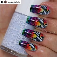 Absolutely stunning! I want to try these myself! #Repost @magic.polish with @repostapp ・・・ Lina: these are the nails Mimi made for me for my birthday 😊 that will be tomorrow and tonight we'll celebrate with a few friends. 🔺base: sky's the limit @glitterdaze 🔺other colors: color paints @opi_products 🔺stamping polish: black @colouralike 🔺plate: EDMXL03 @emilydemolly 🔺stamped with the big bling @clearjellystamper 🔺clean cuticles thanks to simply peel @myblisskiss ❤️ #nailart #naildesign…